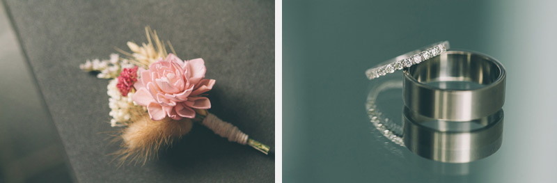 beautiful DIY boutinneres made with balsa wood flowers and wheat bride and grooms ring