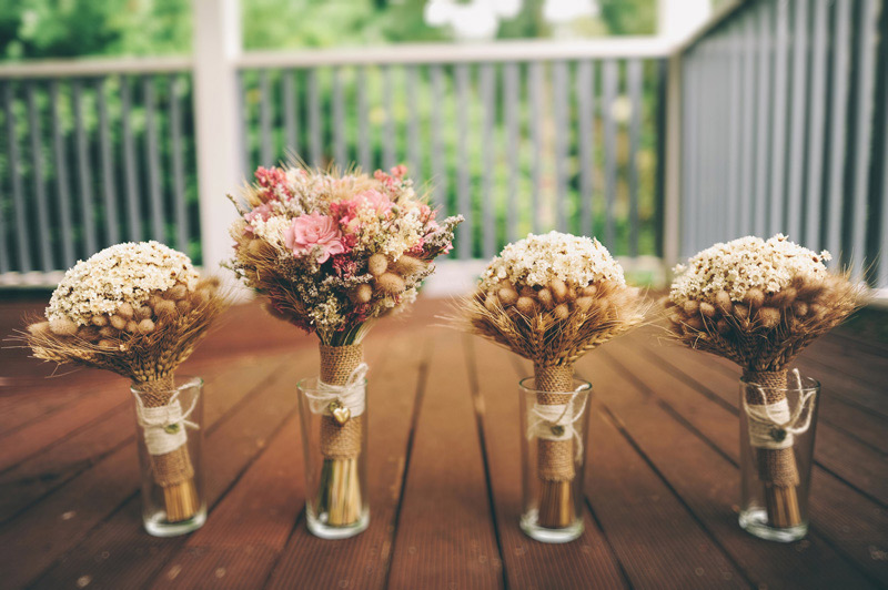 creative rustic DIY bouquets made from dried balsa flowers and wheat