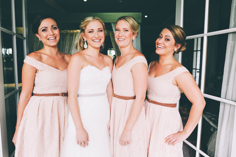rustic pink dresses for the bridesmaids in the blue mountains