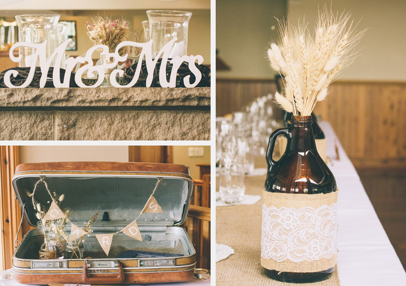 burlap neutral wedding decor ideas all created by the bridal party using balsa wood flowers and wheat
