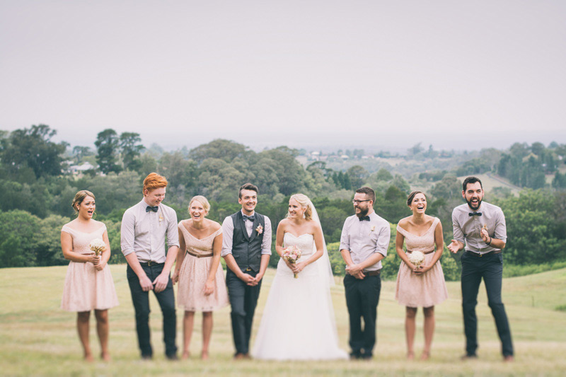 photographer over looking bridal party and the kurrajong hills for a rustic diy wedding