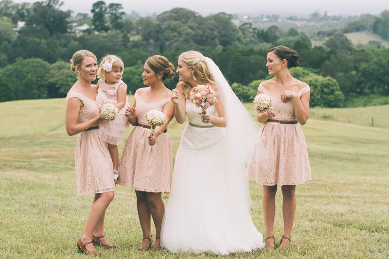 vintage bridal party over looking kurrajong hills