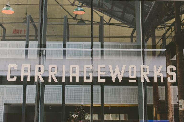 Carriageworks sign for wedding in eveleigh