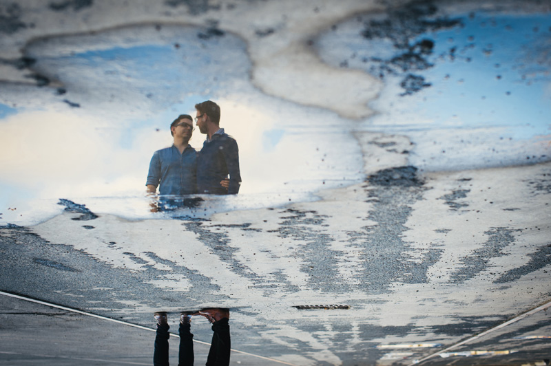 quirky engagement shoot with reflection of couple at carriageworks sydney in colour