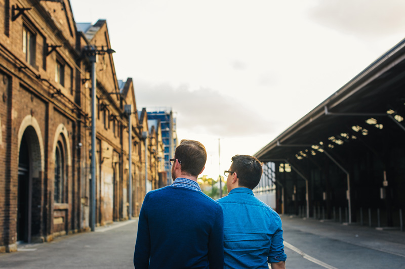 lovers exploring carriageworks sydney great for engagement ideas