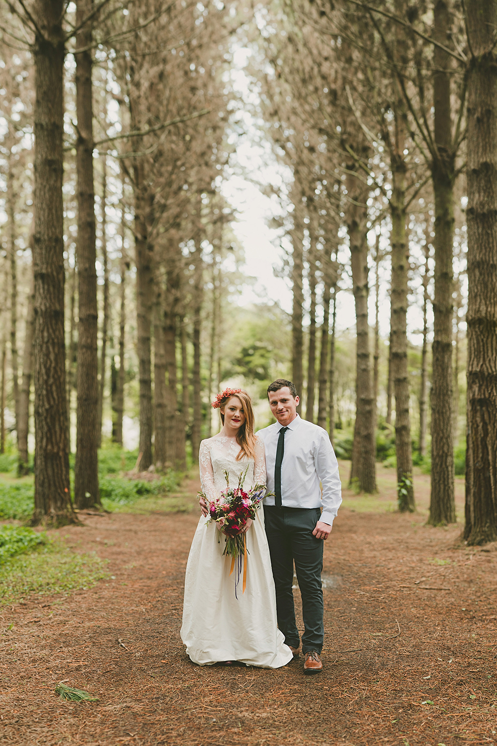 Hunua Ranges Auckland forest boho Wedding photographer rainy day fun bridal party