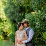 Wedding photographer sydney couple in the garden greenery at Oatlands house