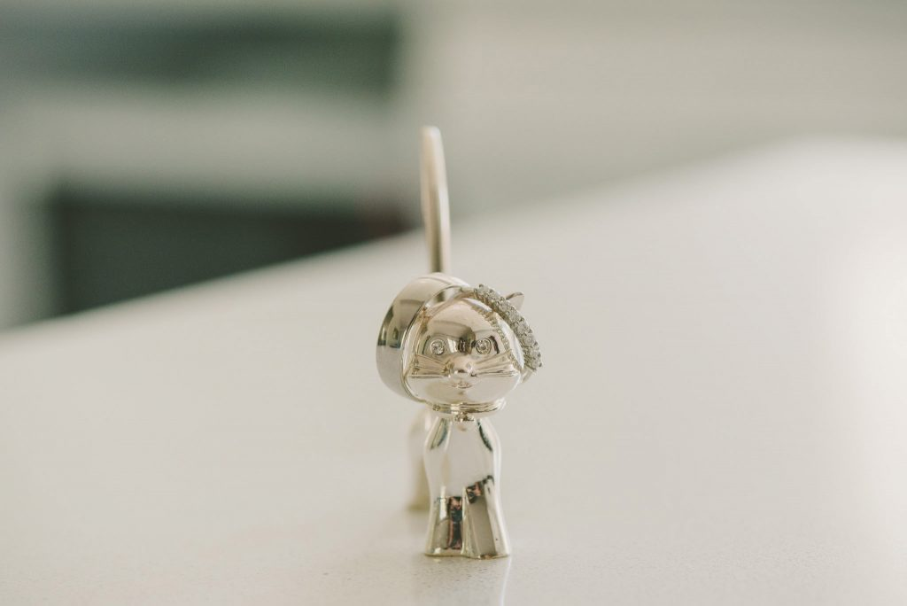 cat in stirlng silver with wedding bands