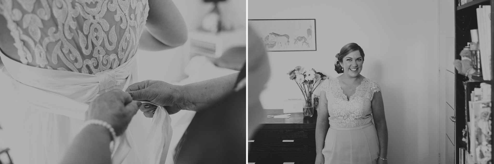 Bride Getting Ready Anna Campbell Lace Dress Melbourne