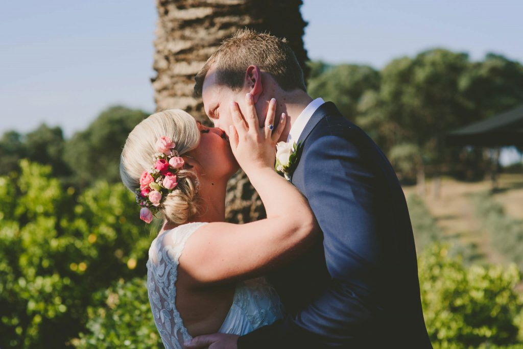 The first kiss as husband and wife in beautiful Melbourne