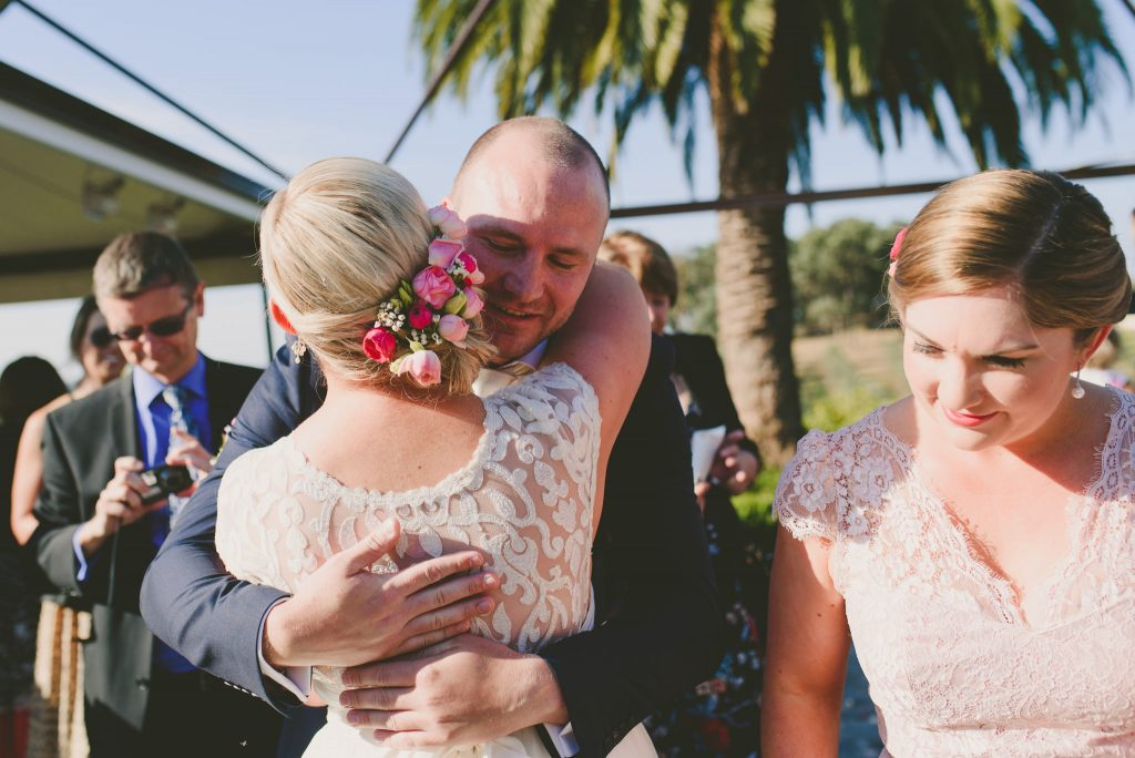 Congratulations after the wedding at Olivigna in Warrandyte