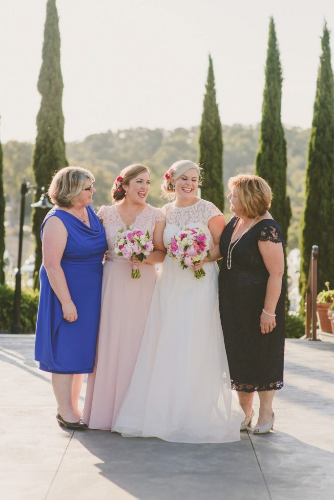 Bride and Bridesmaid with their lovely mums at Olivigna