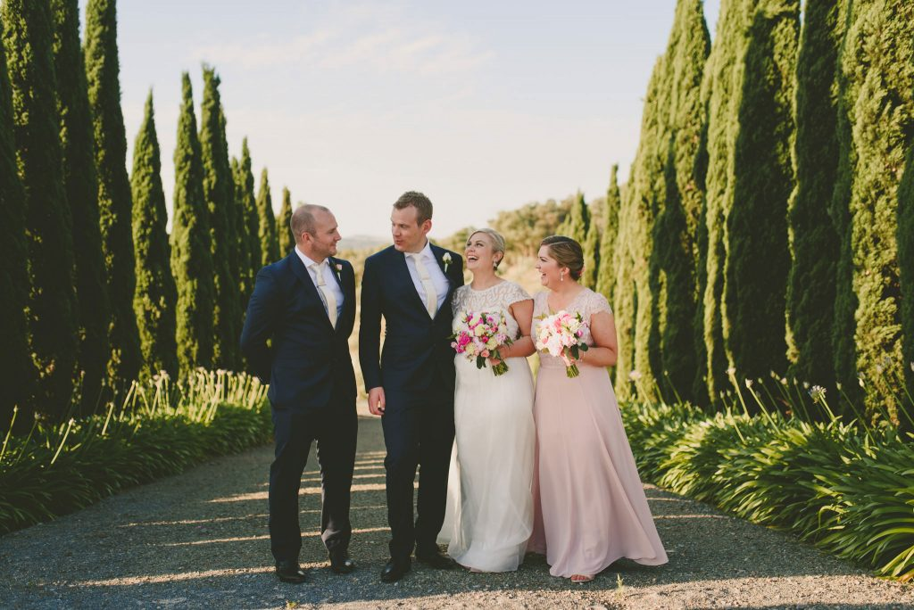 Bridal party amongst the conifers at Olivigna Warrandyte