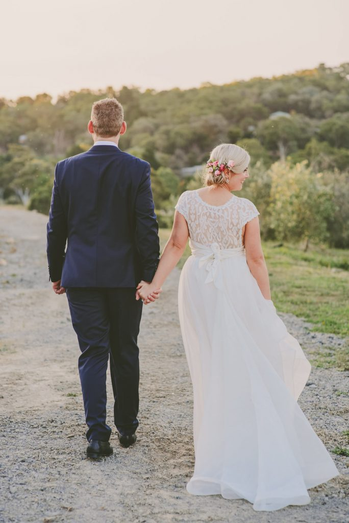 Bride and groom Beautiful Anna Campbell dress